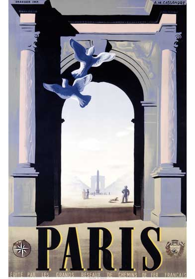 1930's Animals Art Deco Birds City France Posters Streamline Travel'