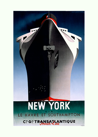 Art Deco Boats New York Ocean Posters Streamline Travel'