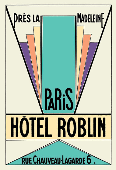 1930's Art Deco France Hotels Imprint: Laughing Elephant Luggage Label Paris Travel'