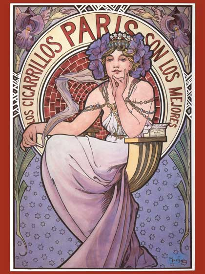 Advertising Art Art Nouveau Flowers France Illustrator: Alphonse Mucha Imprint: ArteHouse Travel Women'