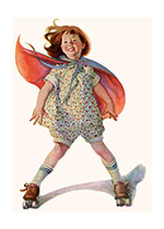 Birthday Childhood Girlhood Happiness Illustrator: Frances Tipton Hunter Imprint: Laughing Elephant Playing Roller Skating Smiles & Laughter Sports'