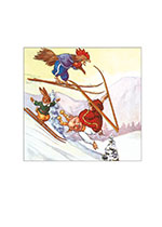 Animals Birds Illustrator: Unknown Pigs Playing Rabbits Skiing Sports Winter Winter Sports'