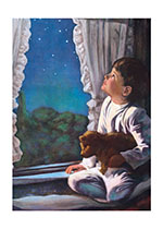 Boyhood Childhood Encouragement Home Illustrator: Unknown Imprint: Laughing Elephant Night Stars Teddy Bears Windows'