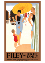 1920's Art Deco Beach Family Posters Summer Swimming Travel Umbrellas United KIngdom'