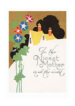 1920's Art Deco Flowers Home Imprint: Laughing Elephant Mother Mother's Day Spring'