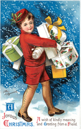 Boyhood Childhood Christmas Gifts Illustrator: Ellen M. Clapsaddle Imprint: Laughing Elephant Snow'