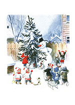 Childhood Christmas Imprint: Laughing Elephant Playing Snowmen Winter Sports'