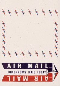 Aerogram Air Mail Art Deco Imprint: Laughing Elephant Letters Luggage Label Planes Transportation Travel Writing and Mail'