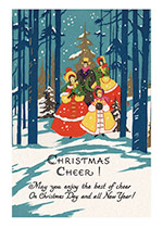 Christmas Illustrator: Unknown Mid-Century Singing Trees Winter'