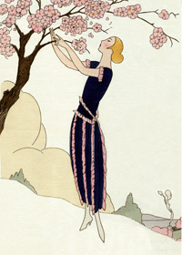1920's Art Deco Fashion & Beauty Flowers France Jazz Age Trees Women'