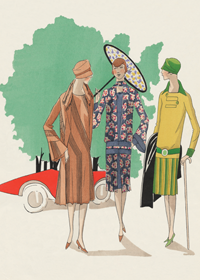 1920's Art Deco Cars Fashion & Beauty France Jazz Age Umbrellas Women'