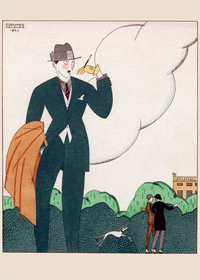 1920's Art Deco Fashion & Beauty France Illustrator: Edouard Halouze Jazz Age Men'