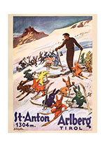 Advertising Art Animals Austria Illustrator: B. Czegka Imprint: ArteHouse Rabbits Skiing Snow Travel Winter Winter Sports'