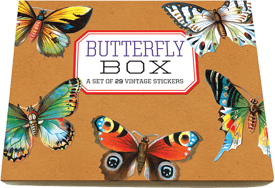 Butterfly Box Sticker Box Bring beauty to your life with this beautiful box of Victorian-era butterflies.  We selected this offering of die-cut butterfly stickers from our treasured collection of Victorian scraps. Scraps, dating from 1880-1910, were enormously popular die-cut papers used to adorn scrapbooks. The color printing of this early form of the sticker was extraordinarily beautiful, which is especially fitting for these flying rainbows. Art and literature have long celebrated the butterfly for their beauty and symbolic power. This box contains twenty-nine different butterfly stickers that may be used to decorate scrapbooks, correspondence, notecards, journal, gifts, or wherever a butterfly seems appropriate.