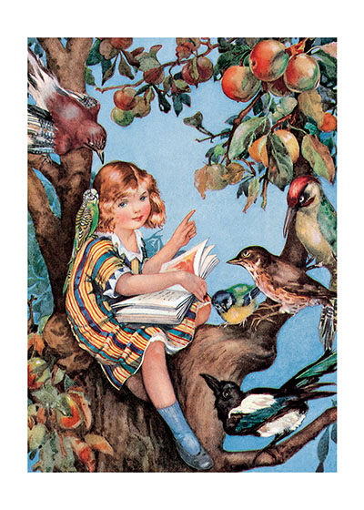 Girl Reading To Birds  INSIDE GREETING: I meant to do my work today, but a brown bird sang in the apple tree, and a butterfly flitted across the field, and all the leaves were calling me.  Drawn from an old children's book, this card's subject and greeting reflect the child's natural enthusiasm for books and nature. The illustration is by Molly Benatar, a 20th century English illustrator.  Our greeting cards are custom printed at our location in Seattle, WA. They come bagged with an envelope. We love illustration art from old children's books and early, printed ephemera. These cards reflect this interest in bringing delightful art back to life.