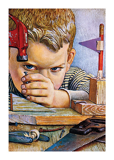 "Boy Hammering A Nail | Boys Children Art Prints ""These prints are made at our location in Seattle, WA. They have a thick, white backing board and are sealed in clear bags. Each is suitable for framing at 11 inches x 14 inches or can be used as is for wall display. Our goal is to bring back to life these wonderful illustrations from old-fashioned, children's books and from early advertising art."""