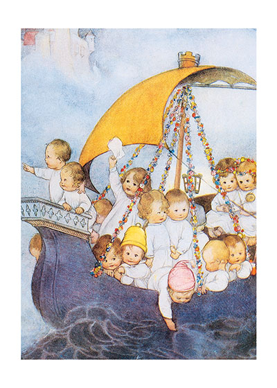 Babies on Sailboat These prints are made at our location in Seattle, WA. They have a thick, white backing board and are sealed in clear bags. Each is suitable for framing at 11 inches x 14 inches or can be used as is for wall display. Our goal is to bring back to life these wonderful illustrations from old-fashioned, children's books and from early advertising art.