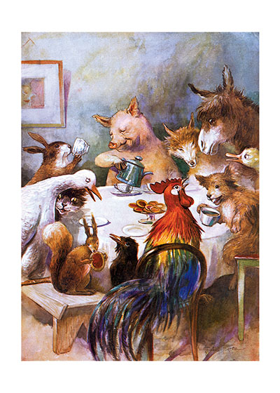 Animal Banquet  INSIDE GREETING: I am wealthy in my friends.  The truism of the greeting is expressed visually in this old children's book illustration that shows animals of all types having a grand banquet together.  Our notecards are custom printed at our location in Seattle, WA. They come bagged with an envelope. We love illustration art from old children's books and early, printed ephemera. These cards reflect this interest in bringing delightful art back to life.