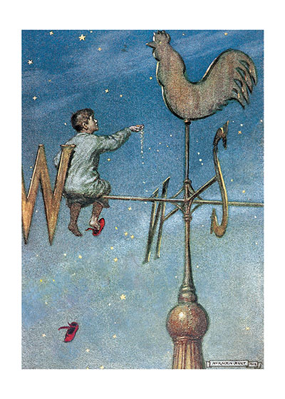 A Boy Sitting Atop a Weathervane  BLANK INSIDE  Our blank notecards are custom printed at our location in Seattle, WA. They come bagged with an envelope. We love illustration art from old children's books and early, printed ephemera. These cards reflect this interest in bringing delightful art back to life.