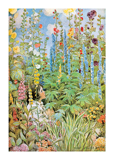Hiding in the Garden These prints are made at our location in Seattle, WA. They have a thick, white backing board and are sealed in clear bags. Each is suitable for framing at 11 inches x 14 inches or can be used as is for wall display. Our goal is to bring back to life these wonderful illustrations from old-fashioned, children's books and from early advertising art.