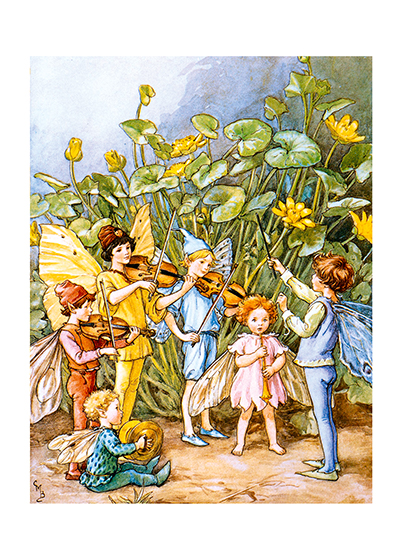 Fairy Orchestra  BLANK INSIDE  Our blank notecards are custom printed at our location in Seattle, WA. They come bagged with an envelope. We love illustration art from old children's books and early, printed ephemera. These cards reflect this interest in bringing delightful art back to life