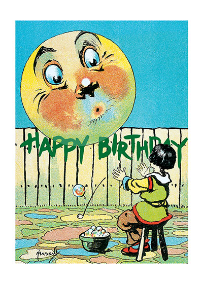 "Moon Birthday  INSIDE GREETING: ""Lots of happy surprises on your birthday.""  Our blank notecards are custom printed at our location in Seattle, WA. They come bagged with an envelope. We love illustration art from old children's books and early, printed ephemera. These cards reflect this interest in bringing delightful art back to life."