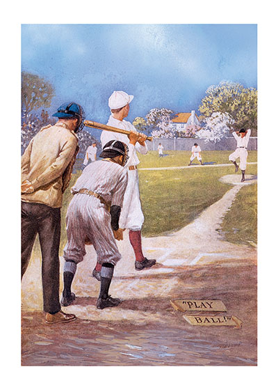 Play Ball - Boys Playing Baseball  BLANK INSIDE  Our blank notecards are custom printed at our location in Seattle, WA. They come bagged with an envelope. We love illustration art from old children's books and early, printed ephemera. These cards reflect this interest in bringing delightful art back to life.