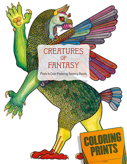 Creatures of Fantasy | Coloring Fifteen images of unicorns, griffins, dragons, centaurs, sphinxes, gorgons, phoenix, manticore and more to color, keep, share and enjoy. As long as humans have created art they have created strange, powerful and wondrous creatures that do not exist in nature. (Or do they?) These fascinating beings fulfill a range of roles in the human psyche, including hero, villain, sage, temptress and more. In this portfolio of images to color we present a delightful array of fantasy animals from a wide variety of cultures and eras to challenge colorists of all skills. Because our imaginations are freed by their fantastic natures these creatures of the mind may be colored in any way we desire.
