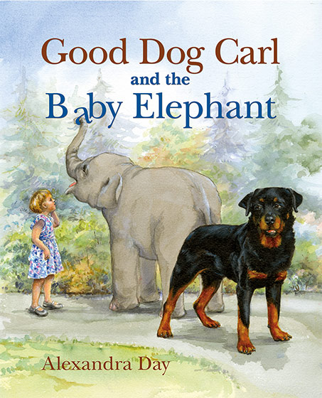 Good Dog Carl & the Baby Elephant, (Signed)-SOLD RETAIL ONLY Carl, everyone's favorite babysitting Rottweiler, is back in a new adventure. This time a baby elephant follows him and Madeleine when they decide to leave the Children's Zoo to get ice cream. Baby elephants, it turns out, like water, and fruit and don't know their own size.