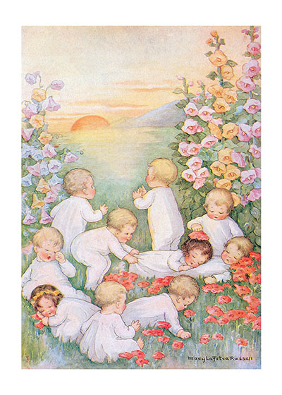 Babies Playing in Field  | Baby Greeting Cards