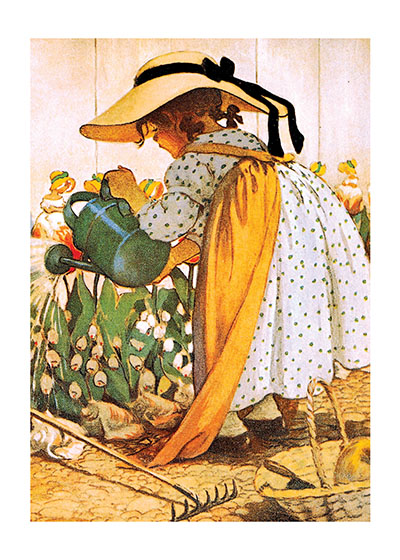 A Girl Watering Her Garden  INSIDE GREETING: Please come into my garden, I'd like my flowers to meet you.  Jessie Willcox Smith (1863 - 1935) was a revered American illustrator particularly known for her illustrations of children; this vintage illustration features this talent.