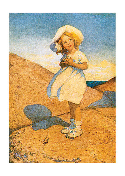 A Little Girl Turning Her Face To The Sun  INSIDE GREETING: Turn your face to the sun and the shadow falls behind you.  Jessie Willcox Smith (1863 - 1935) was a revered American illustrator particularly known for her illustrations of children; this vintage illustration features this talent.  Our greeting cards are custom printed at our location in Seattle, WA. They come bagged with an envelope. We love illustration art from old children's books and early, printed ephemera. These cards reflect this interest in bringing delightful art back to life.