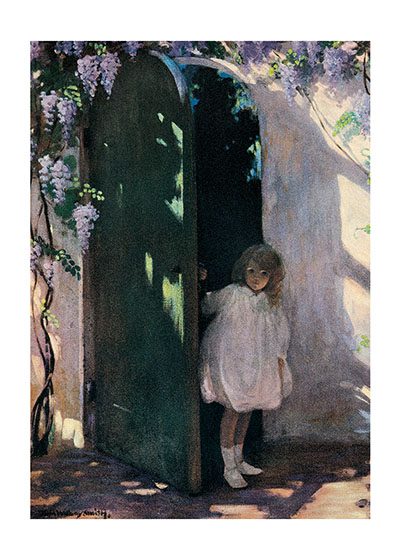 Doorway to the Secret Garden  INSIDE GREETING: We are always the same age inside. Happy Birthday.  Jessie Willcox Smith (1863 - 1935) was a revered American illustrator particularly known for her illustrations of children; this vintage illustration features this talent.  Our greeting cards are custom printed at our location in Seattle, WA. They come bagged with an envelope. We love illustration art from old children's books and early, printed ephemera. These cards reflect this interest in bringing delightful art back to life.