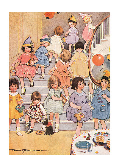 Little Girls at Party This book illustration by Frances Tipton Hunter shows a proper birthday celebration.  These prints are made at our location in Seattle, WA. They have a thick, white backing board and are sealed in clear bags. Each is suitable for framing at 11 inches x 14 inches or can be used as is for wall display. Our goal is to bring back to life these wonderful illustrations from old-fashioned, children's books and from early advertising art.