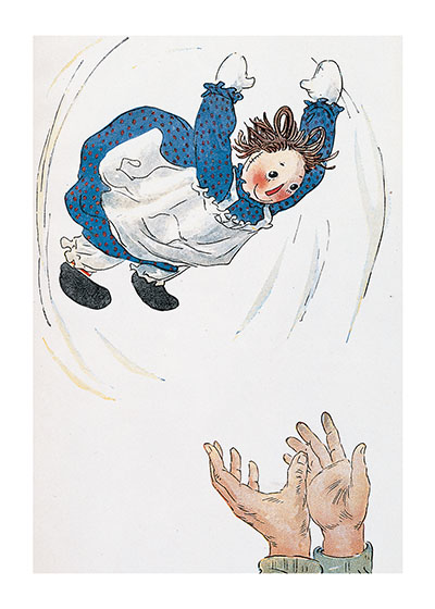 Raggedy Ann Flying Art Print Raggedy Ann and Andy's creator, Johnny Gruelle (1880-1938), has been popular from his first book (1918) about this world of lovable dolls until today.  This is because of his genius at picturing toys who are, at one and the same time, appealing and yet living beings with feelings, aspirations and original thoughts.  He was, additionally, a superb artist whose balanced and beautifully colored pictures continue to please us.  These prints are created by a process named after a French word for 'spray'.  The inks used in this process have a much higher resistance to fading than lithographic printing inks, which makes this kind of printing particularly suitable for prints being used in wall decor.   Our prints are made at our location in Seattle, WA. They have a thick, white backing board and are sealed in clear bags. Each is suitable for framing at 11 inches x 14 inches or can be used as is for wall display. Our goal is to bring back to life these wonderful illustrations from old-fashioned, books for children and from early advertising art.