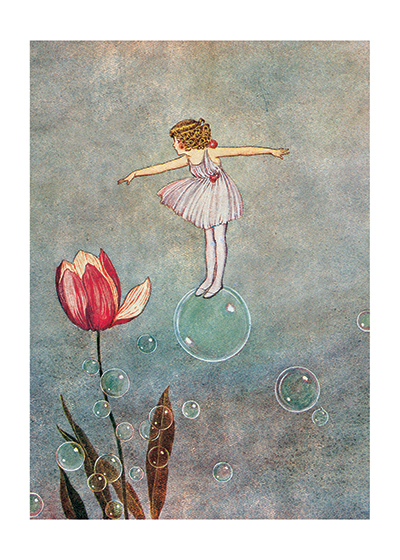 Bubble Fairy With Tulip Ida Rentoul Outhwaite (1888 - 1960) was an Australian illustrator of children's books. She was masterful at depicting fairies and the natural world. Her books include Elves and Fairies (1916), The Enchanted Forest (1921)and Blossom: A Fairy Story (1928).  These prints are created by a process named after a French word for 'spray'.  The inks used in this process have a much higher resistance to fading than lithographic printing inks, which makes this kind of printing particularly suitable for prints being used in wall decor.   Our prints are made at our location in Seattle, WA. They have a thick, white backing board and are sealed in clear bags. Each is suitable for framing at 11 inches x 14 inches or can be used as is for wall display. Our goal is to bring back to life these wonderful illustrations from old-fashioned, books for children and from early advertising art.