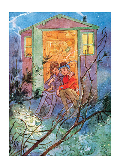 Boy & Girl in Doorway of a Treehouse  INSIDE GREETING: Love does not consist in gazing at each other but, looking outward in the same direction.  This book illustration of Peter Pan and Wendy in their treehouse makes a lovely friendship card.  Our greeting cards are custom printed at our location in Seattle, WA. They come bagged with an envelope. We love illustration art from old children's books and early, printed ephemera. These cards reflect this interest in bringing delightful art back to life.