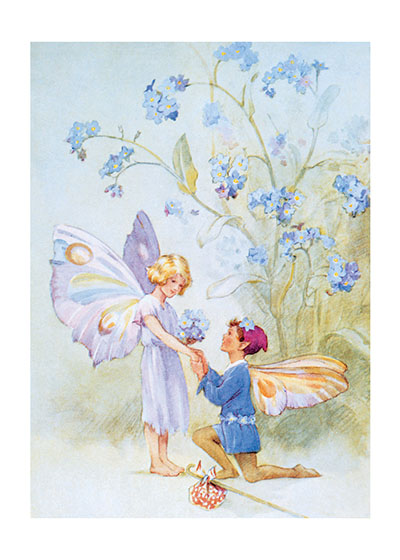 "Fairy Love | Fairyland Fairies Greeting Cards ""Our blank notecards are custom printed at our location in Seattle, WA. They come bagged with an envelope. We love illustration art from old children's books and early, printed ephemera. These cards reflect this interest in bringing delightful art back to life."""