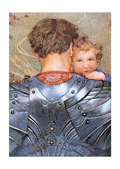 Knight Carrying Child BLANK INSIDE  This book illustration by Eleanor Fortescue Brickdale shows a Knight carrying his child; a lovely statement about fatherhood.  Our greeting cards are custom printed at our location in Seattle, WA. They come bagged with an envelope. We love illustration art from old children's books and early, printed ephemera. These cards reflect this interest in bringing delightful art back to life.