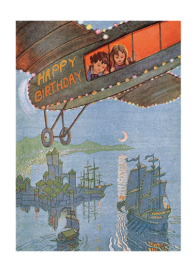 Children in Plane  | Birthday Greeting Cards