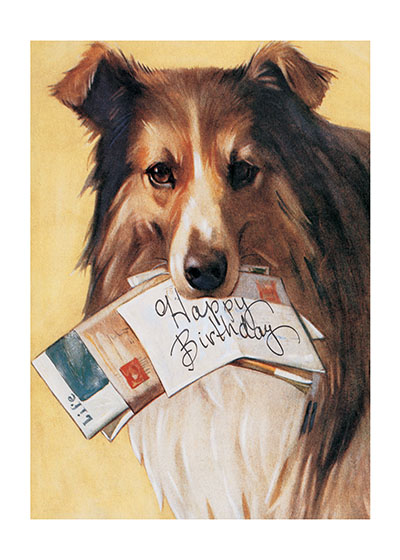 Dog with Mail  Outside Greeting: Happy Birthday Inside Greeting: Have a doggone special day!  Our notecards are custom printed at our location in Seattle, WA. They come bagged with an envelope. We love illustration art from old children's books and early, printed ephemera. These cards reflect this interest in bringing delightful art back to life.