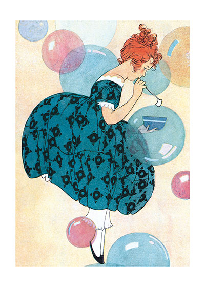 Girl Blowing Bubbles This illustration is from Maginel Wright Barney, a prolific children's illustrator and sister of Frank Lloyd Wright.  These prints are made at our location in Seattle, WA. They have a thick, white backing board and are sealed in clear bags. Each is suitable for framing at 11 inches x 14 inches or can be used as is for wall display. Our goal is to bring back to life these wonderful illustrations from old-fashioned, children's books and from early advertising art.
