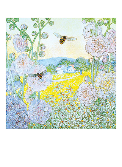Bumblebees Among the Flowers | Flowers Greeting Cards