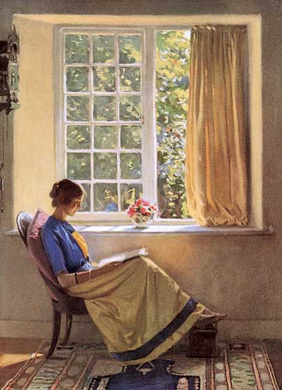 "Woman Reading at Window | Women Greeting Cards ""Our blank notecards are custom printed at our location in Seattle, WA. They come bagged with an envelope. We love illustration art from old children's books and early, printed ephemera. These cards reflect this interest in bringing delightful art back to life."""