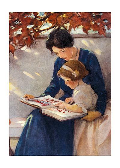 Young Woman and Girl Reading  BLANK INSIDE  Our blank notecards are custom printed at our location in Seattle, WA. They come bagged with an envelope. We love illustration art from old children's books and early, printed ephemera. These cards reflect this interest in bringing delightful art back to life