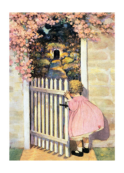 Girl Looking In Garden  INSIDE GREETING: You are as young as your dreams. Happy Birthday!  Jessie Willcox Smith is a revered American illustrator, here she shows a girl entering a secret garden, her dress beautifully matching the flora.  Our greeting cards are custom printed at our location in Seattle, WA. They come bagged with an envelope. We love illustration art from old children's books and early, printed ephemera. These cards reflect this interest in bringing delightful art back to life.
