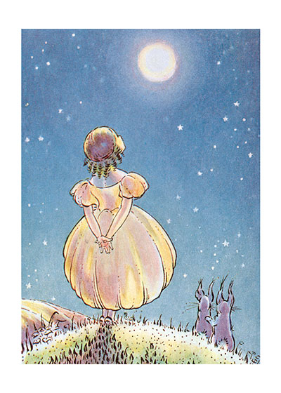 A Girl and Her Rabbits Looking at the Full Moon  BLANK INSIDE  Our blank notecards are custom printed at our location in Seattle, WA. They come bagged with an envelope. We love illustration art from old children's books and early, printed ephemera. These cards reflect this interest in bringing delightful art back to life.