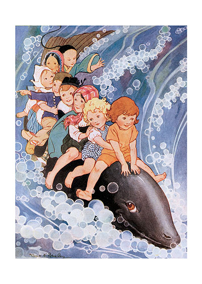 Happy Children Riding A Whale These prints are made at our location in Seattle, WA. They have a thick, white backing board and are sealed in clear bags. Each is suitable for framing at 11 inches x 14 inches or can be used as is for wall display. Our goal is to bring back to life these wonderful illustrations from old-fashioned, children's books and from early advertising art.