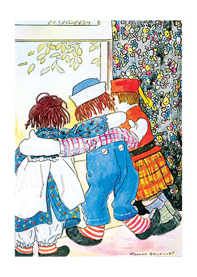 Raggedy Ann & Andy & Friend  Raggedy Ann and Andy's creator, Johnny Gruelle (1880-1938), has been popular from his first book (1918) about this world of lovable dolls until today.  This is because of his genius at picturing toys who are, at one and the same time, appealing and yet living beings with feelings, aspirations and original thoughts.  He was, additionally, a superb artist whose balanced and beautifully colored pictures continue to please us.  Our blank notecards are custom printed at our location in Seattle, WA. They come bagged with an envelope. We love illustration art from old children's books and early, printed ephemera. These cards reflect this interest in bringing delightful art back to life.