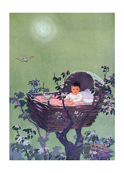 Baby in Treetops  Inside Greeting: Wishing every happiness to you and your brand-new baby.  Printed in the USA on Recycled paper.  Our greeting cards are custom printed at our location in Seattle, WA. They come bagged with an envelope. We love illustration art from old children's books and early, printed ephemera. These cards reflect this interest in bringing delightful art back to life.